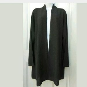 NWT Eileen Fisher Fine Wool Crepe Knit Open Cardig